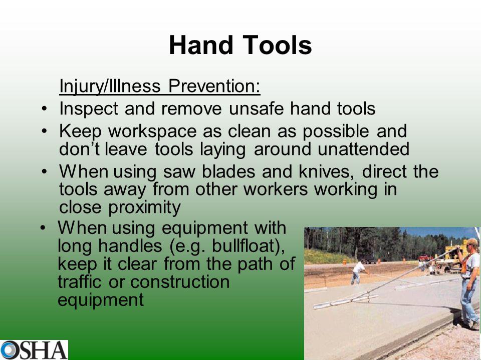 Hand Tools Injury/Illness Prevention: