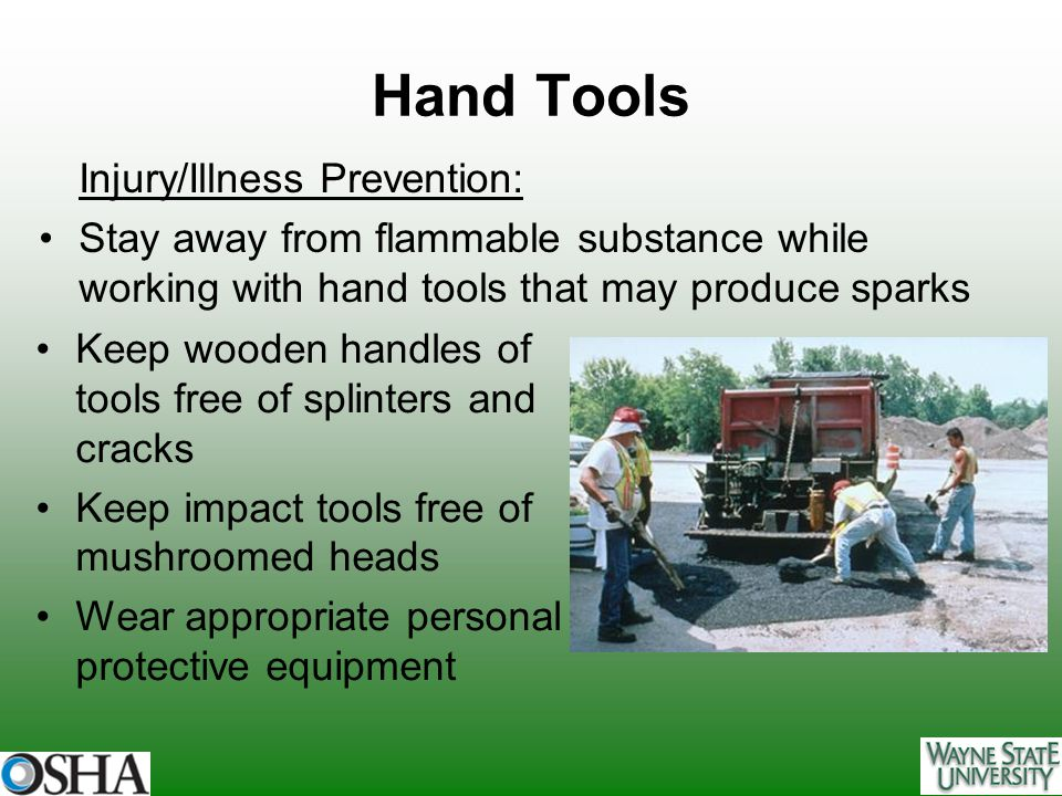 Hand Tools Injury/Illness Prevention: