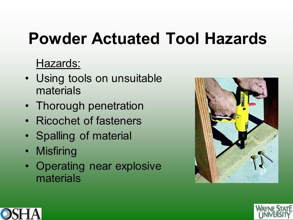 Powder Actuated Tool Hazards