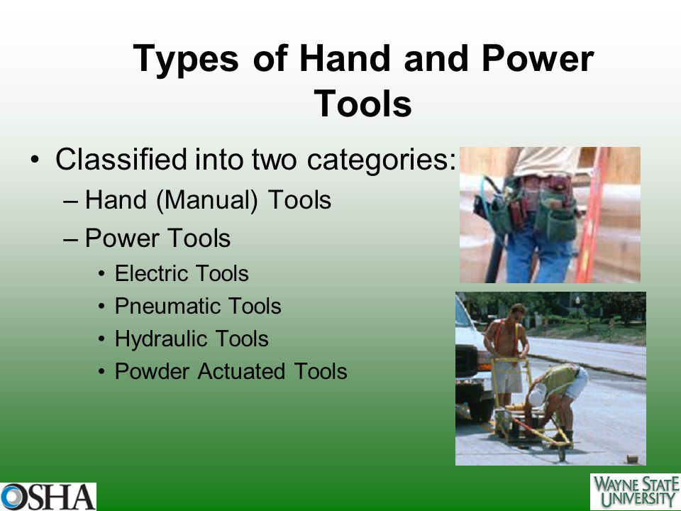 Types of Hand and Power Tools