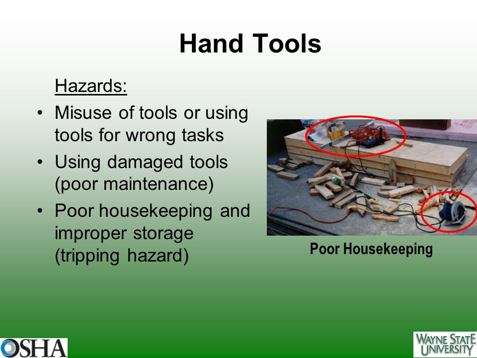 Hand Tools Hazards: Misuse of tools or using tools for wrong tasks