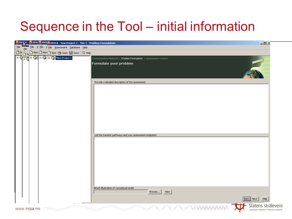 Sequence in the Tool – initial information