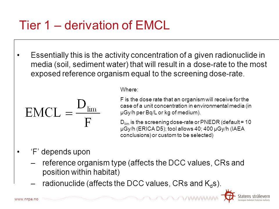 Tier 1 – derivation of EMCL
