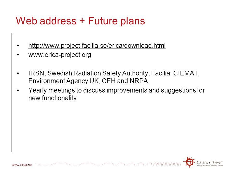 Web address + Future plans