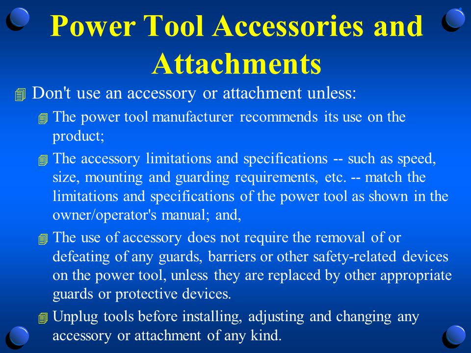 Power Tool Accessories and Attachments