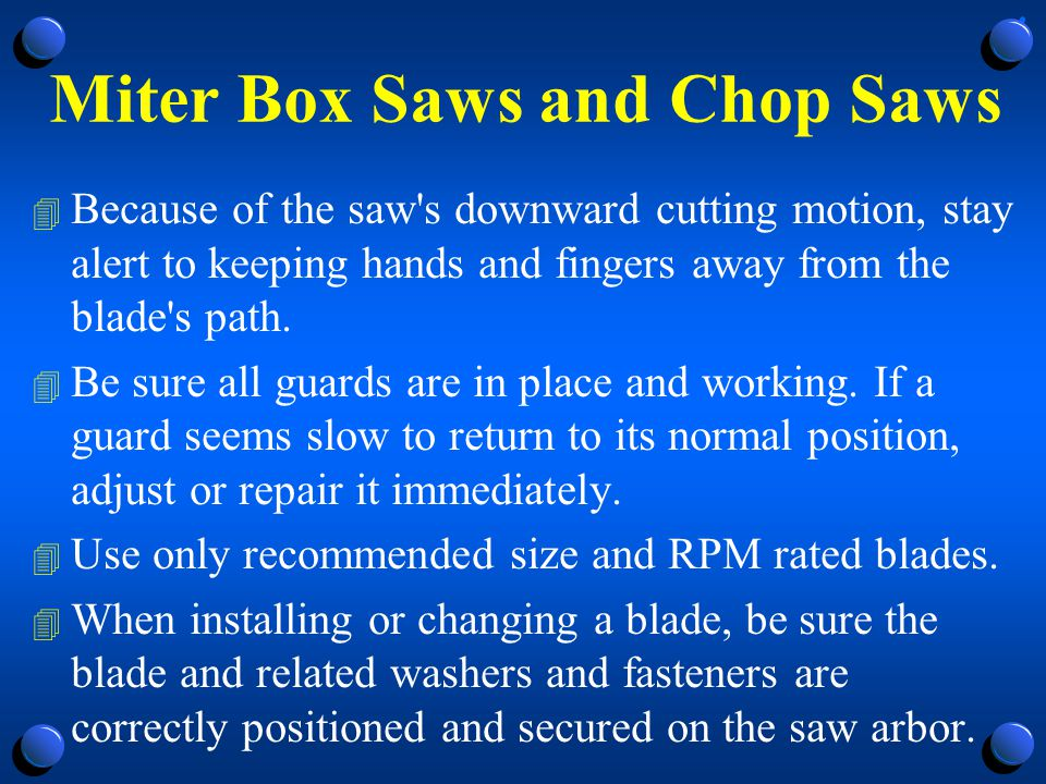 Miter Box Saws and Chop Saws