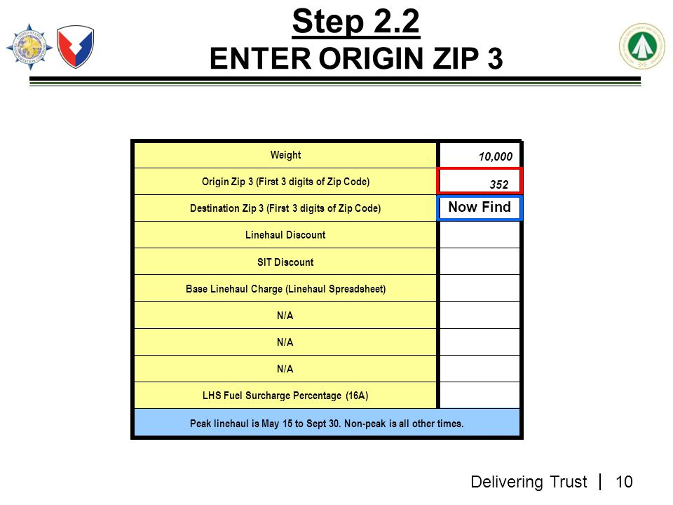 Step 2.2 ENTER ORIGIN ZIP 3 Now Find Weight 10,000