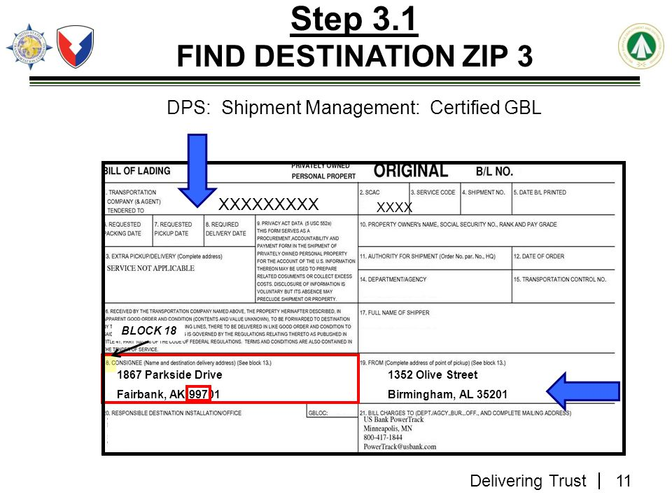 Step 3.1 FIND DESTINATION ZIP 3
