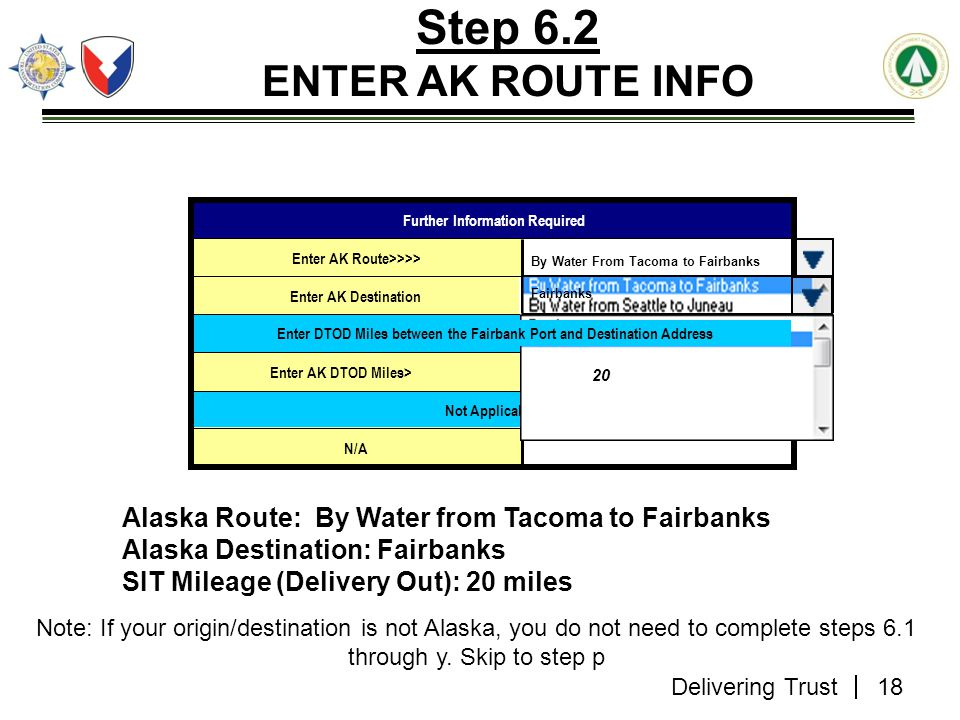 Step 6.2 ENTER AK ROUTE INFO