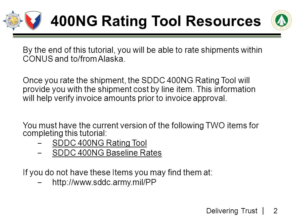 400NG Rating Tool Resources