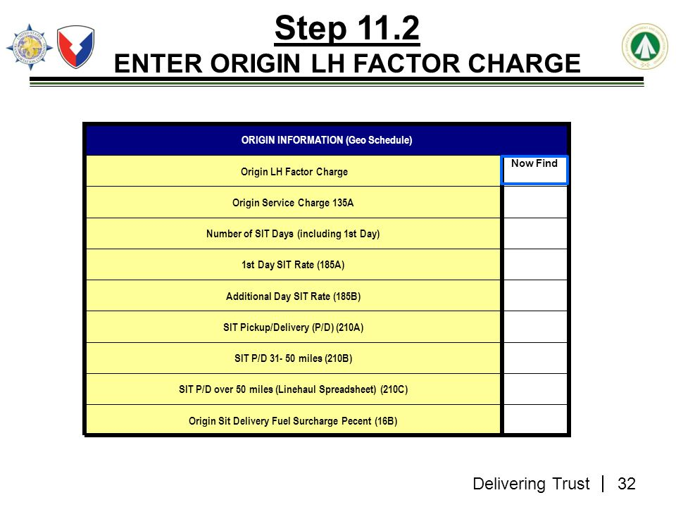 Step 11.2 ENTER ORIGIN LH FACTOR CHARGE