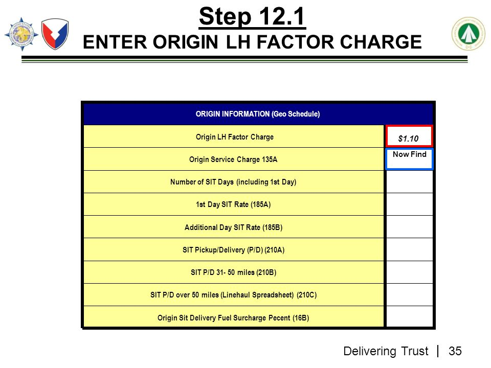 Step 12.1 ENTER ORIGIN LH FACTOR CHARGE