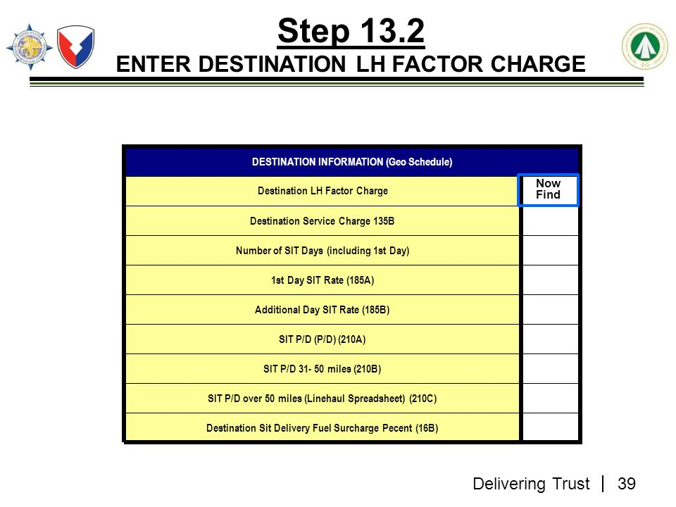 ENTER DESTINATION LH FACTOR CHARGE
