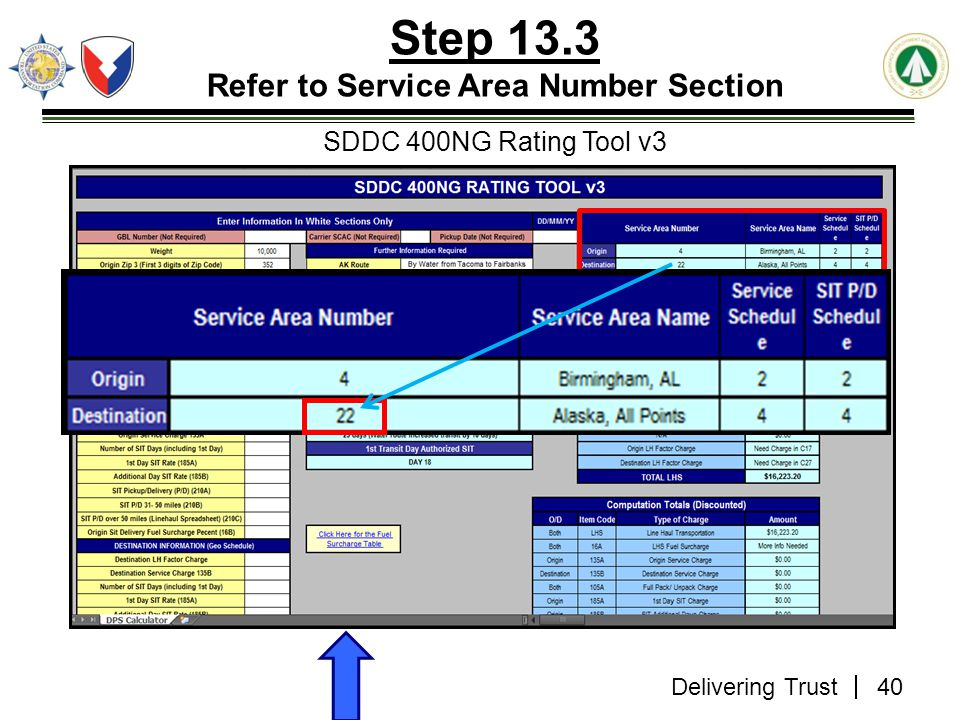 Step 13.3 Refer to Service Area Number Section SDDC 400NG Rating Tool v3