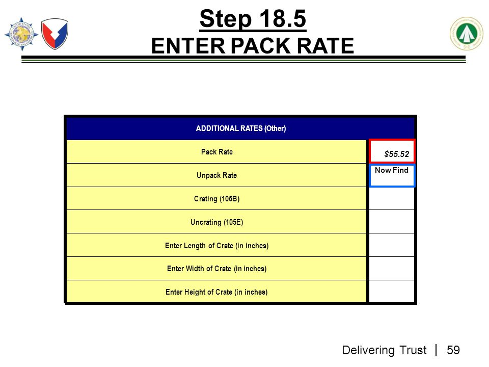 Step 18.5 ENTER PACK RATE ADDITIONAL RATES (Other) $58.05 Pack Rate