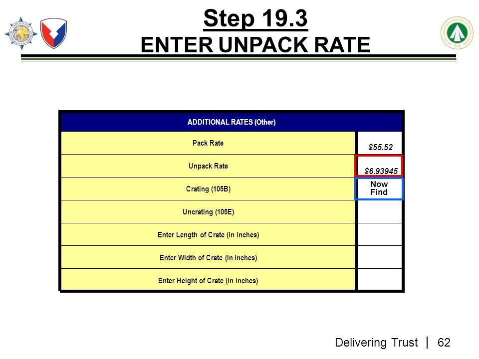 Step 19.3 ENTER UNPACK RATE Now Find ADDITIONAL RATES (Other)