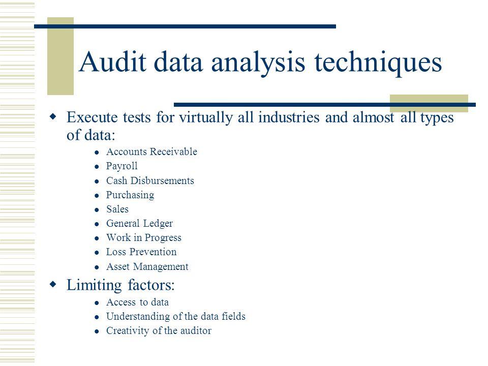 Audit data analysis techniques