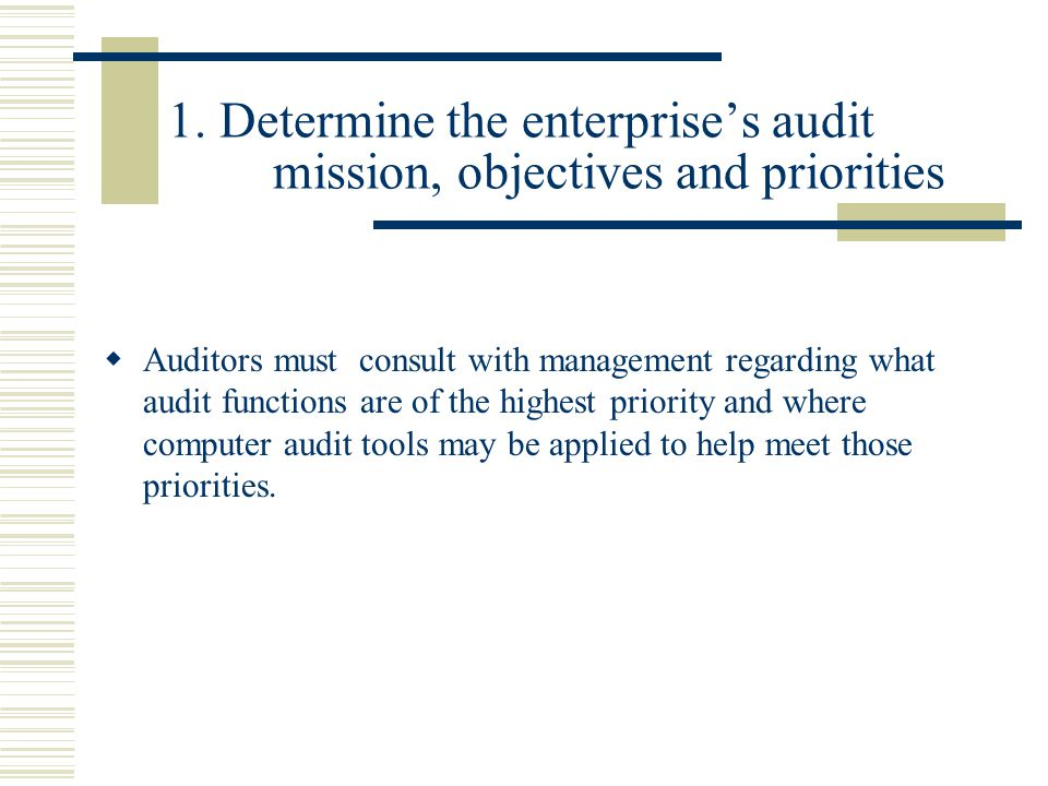 1. Determine the enterprise's audit mission, objectives and priorities