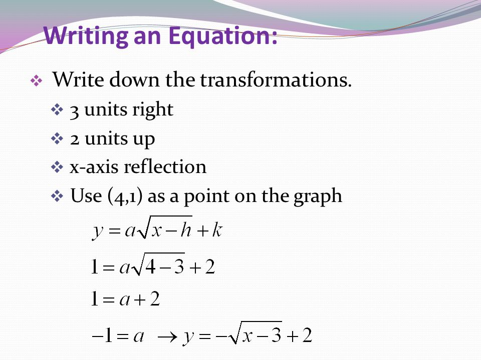 Writing an Equation: 3 units right 2 units up x-axis reflection