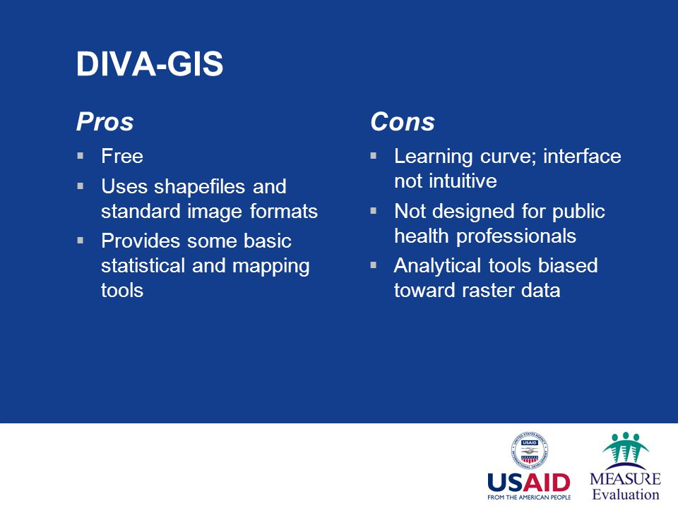 DIVA-GIS Pros Cons Free Uses shapefiles and standard image formats