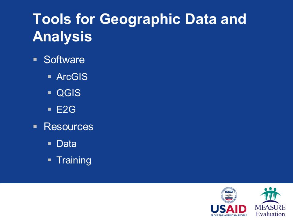 Tools for Geographic Data and Analysis