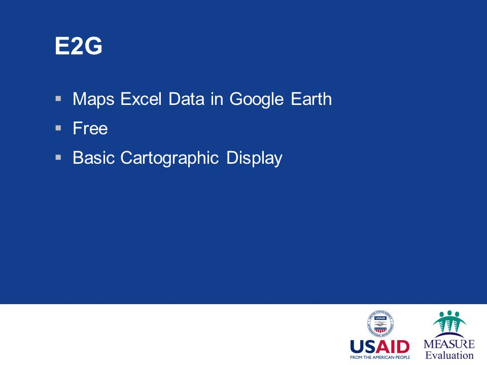 E2G Maps Excel Data in Google Earth Free Basic Cartographic Display