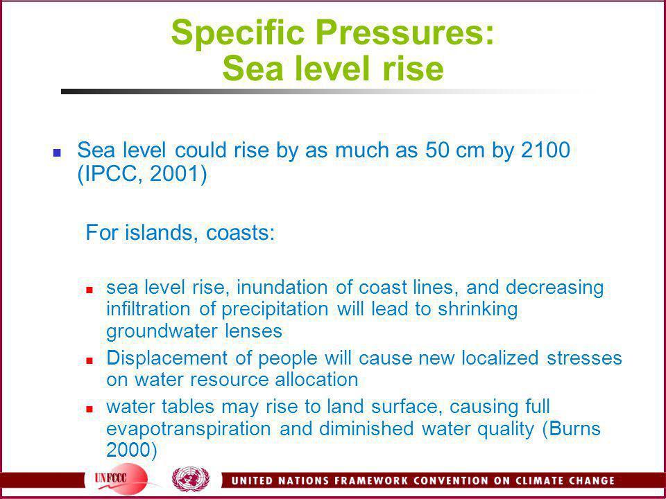 Specific Pressures: Sea level rise
