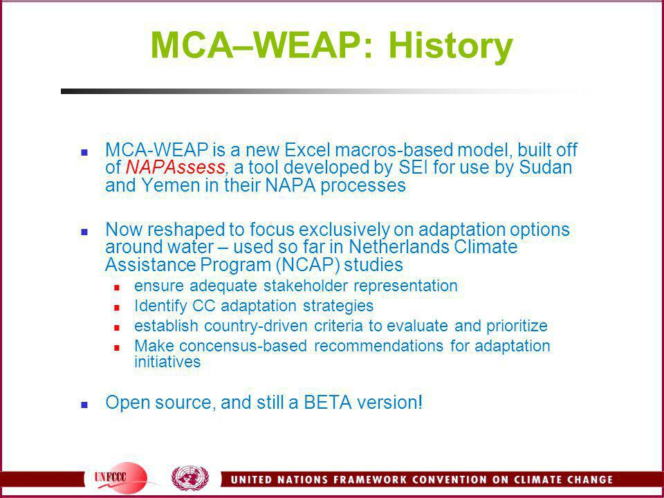 MCA–WEAP: History