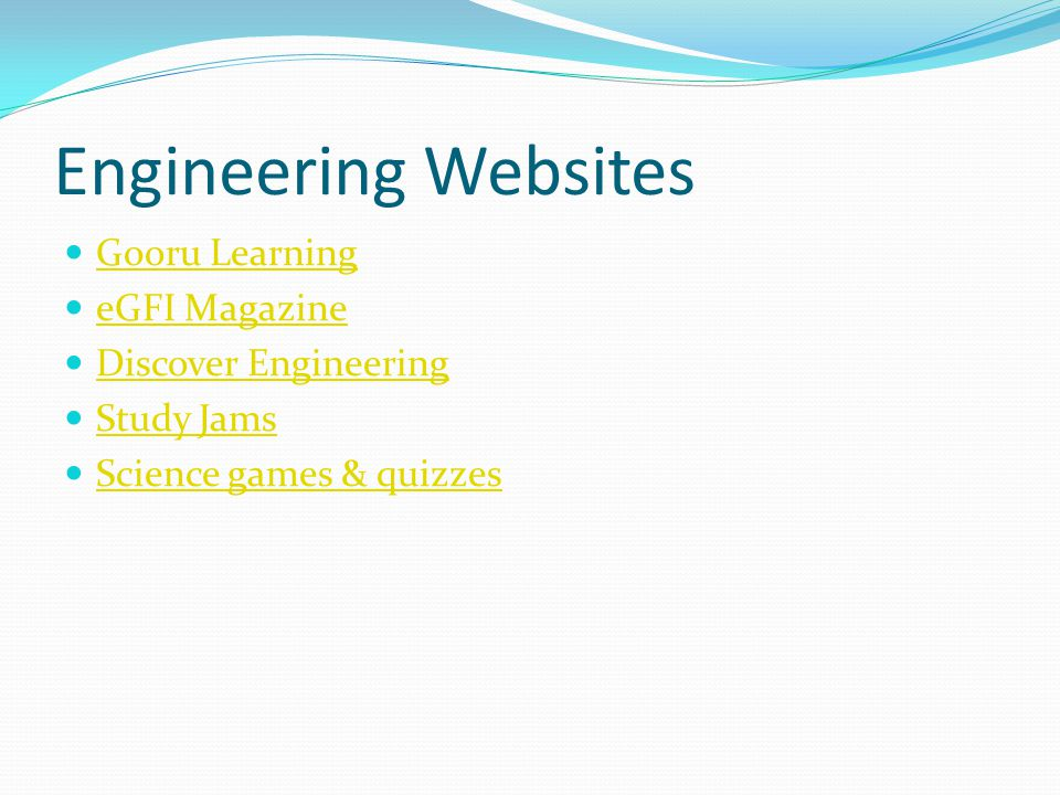 Engineering Websites Gooru Learning eGFI Magazine Discover Engineering