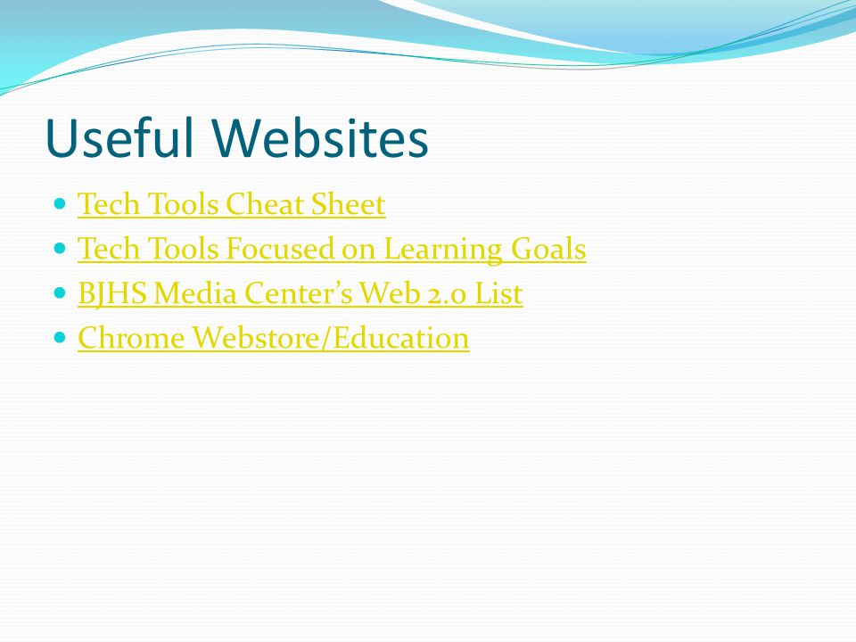 Useful Websites Tech Tools Cheat Sheet