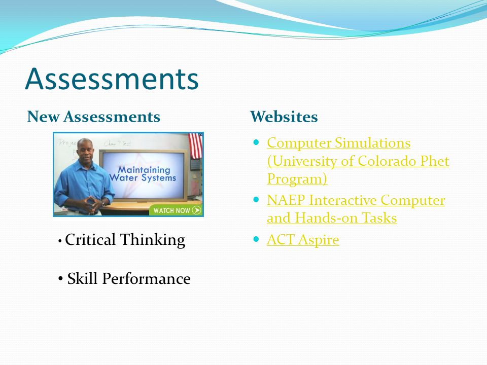 Assessments New Assessments Websites Skill Performance