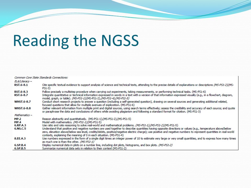 Reading the NGSS