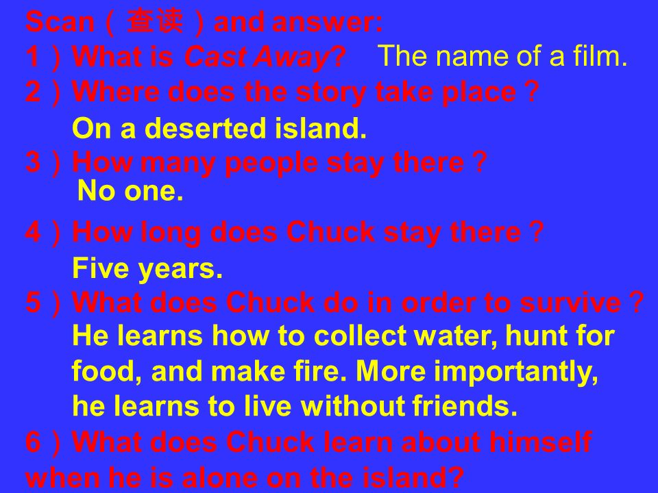 Scan(查读)and answer: 1)What is Cast Away 2)Where does the story take place? 3)How many people stay there?