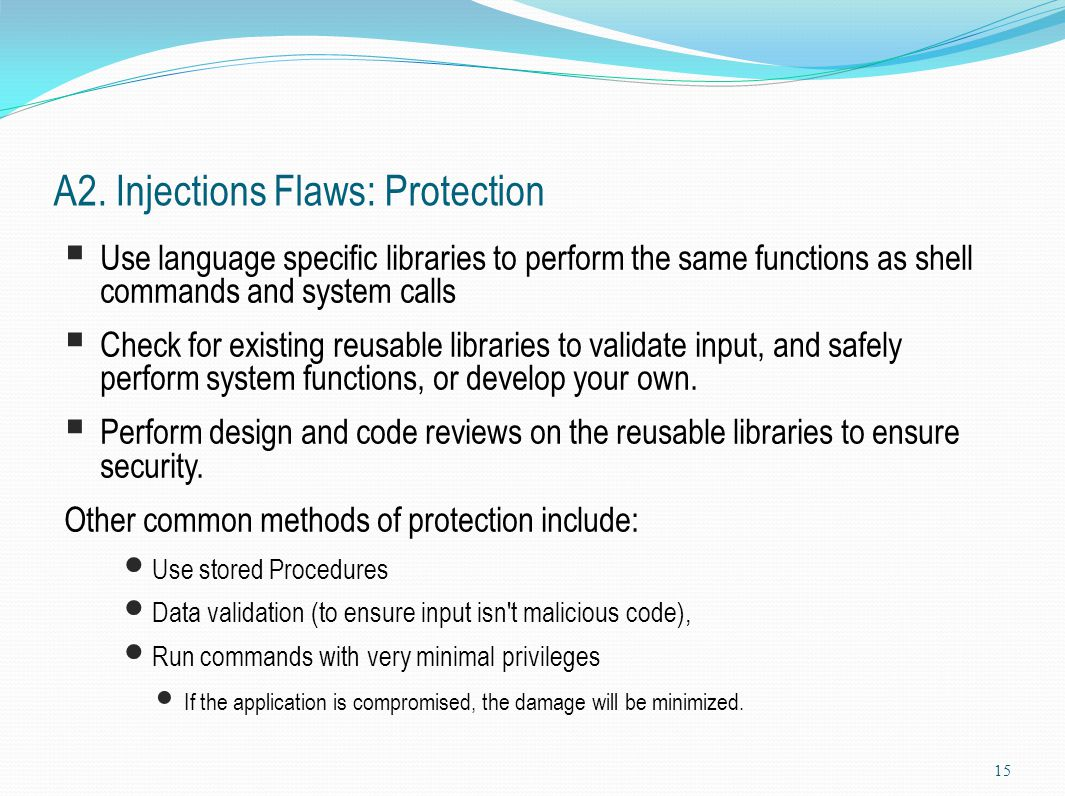 A2. Injections Flaws: Protection