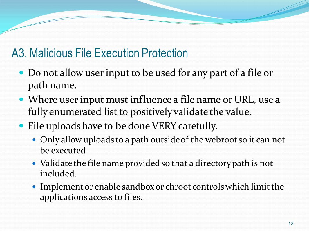 A3. Malicious File Execution Protection