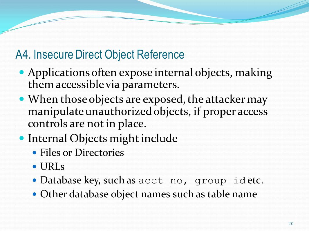 A4. Insecure Direct Object Reference