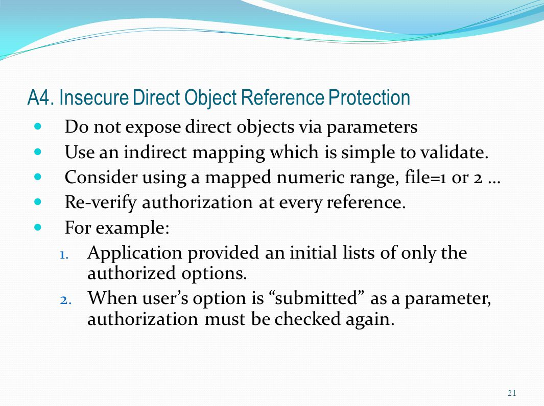 A4. Insecure Direct Object Reference Protection