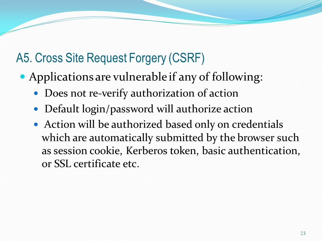 A5. Cross Site Request Forgery (CSRF)