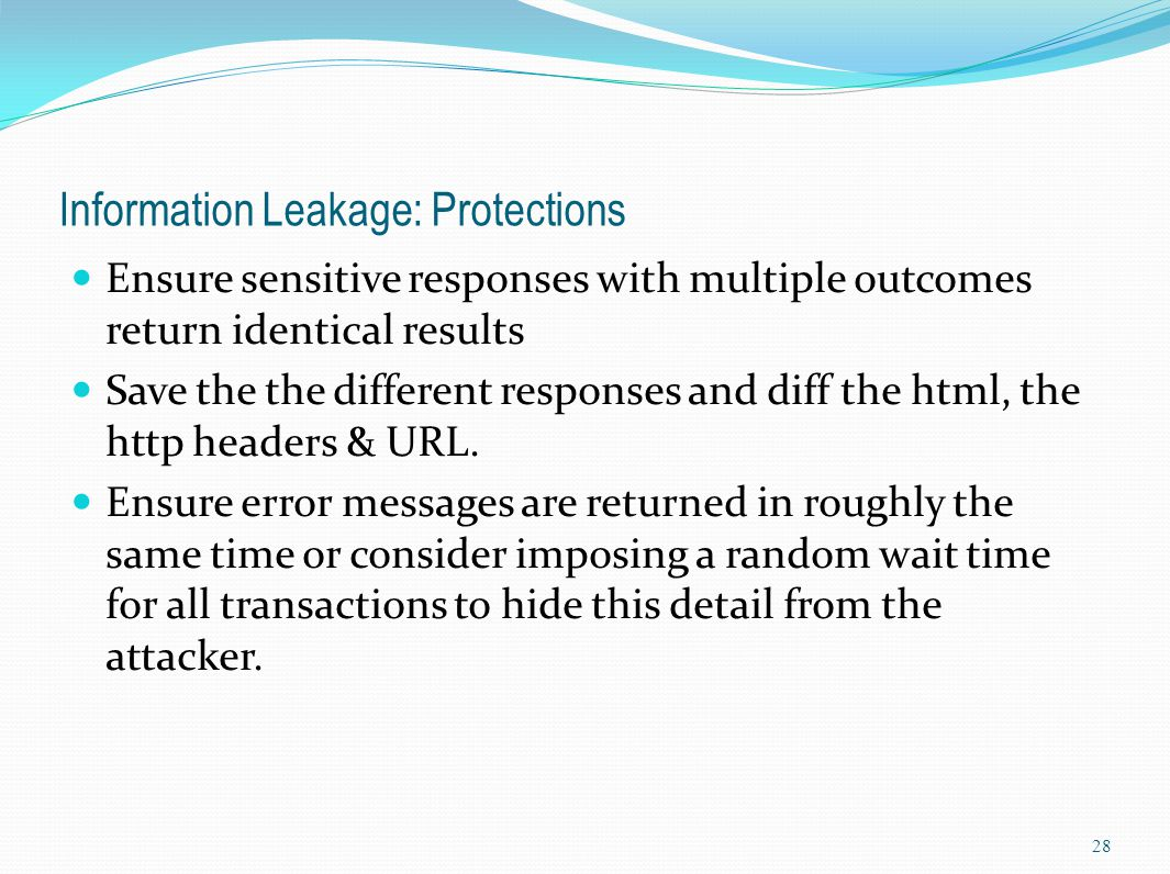 Information Leakage: Protections