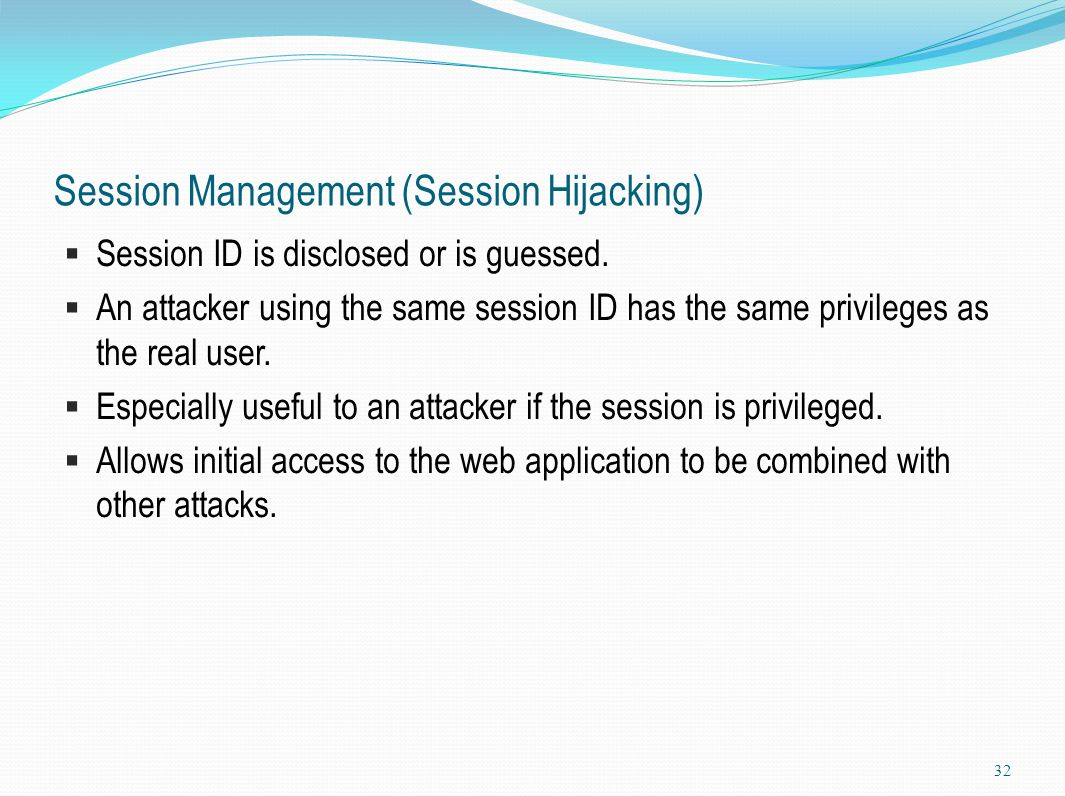 Session Management (Session Hijacking)