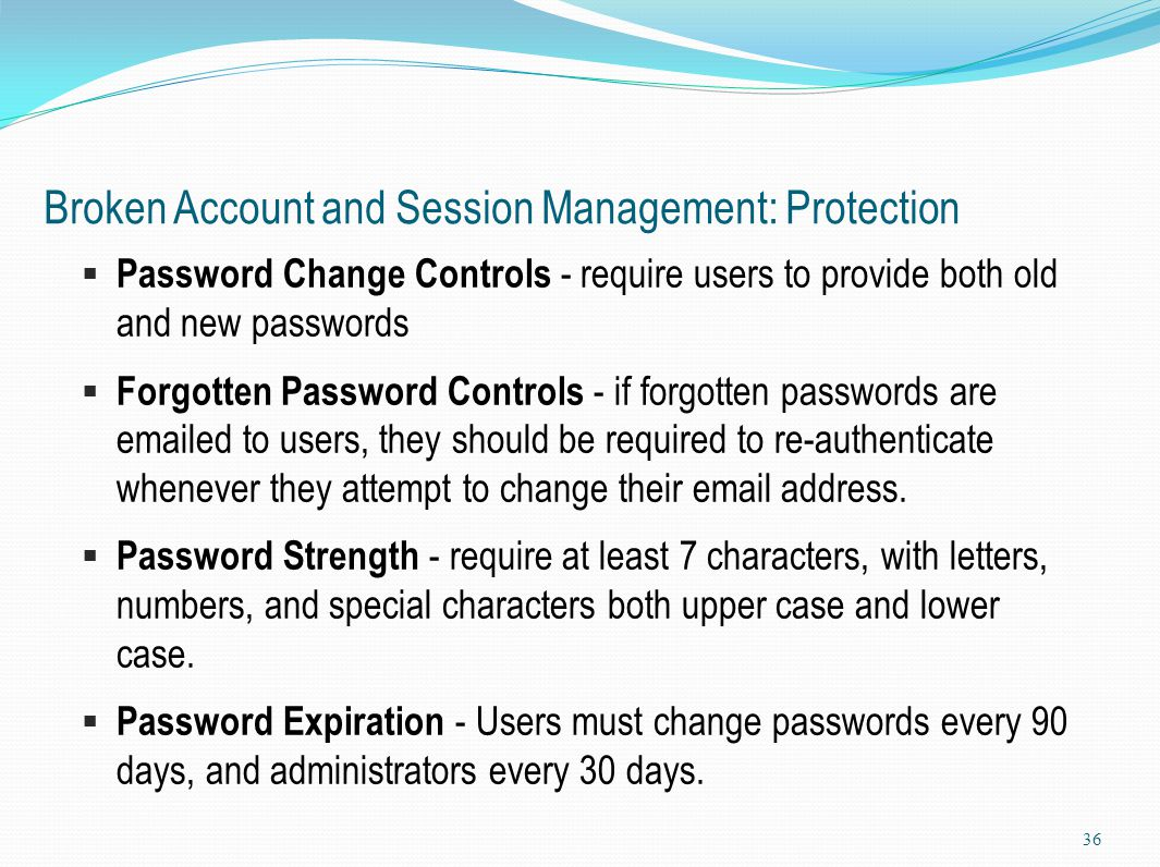 Broken Account and Session Management: Protection