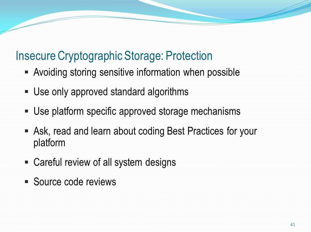 Insecure Cryptographic Storage: Protection