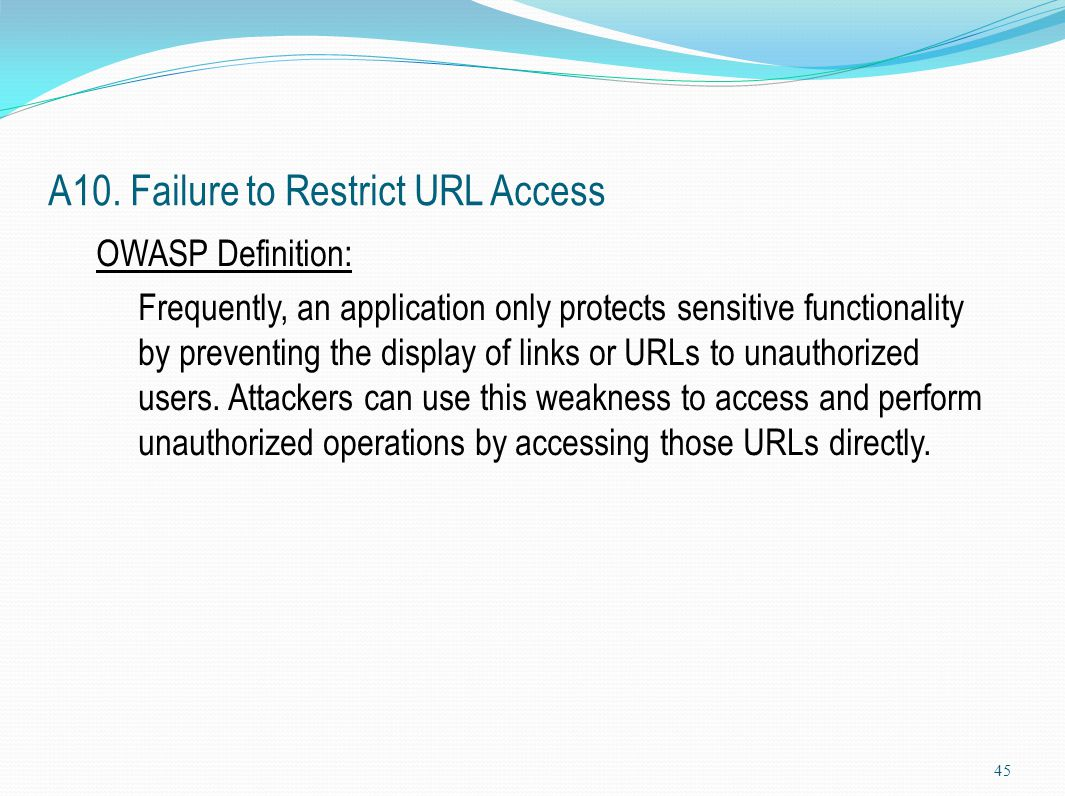 A10. Failure to Restrict URL Access