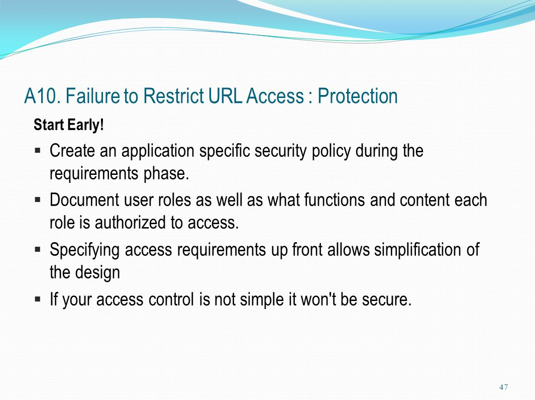 A10. Failure to Restrict URL Access : Protection