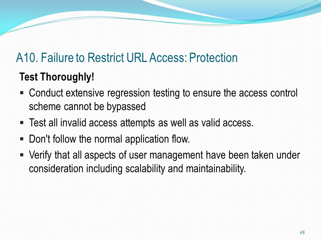 A10. Failure to Restrict URL Access: Protection