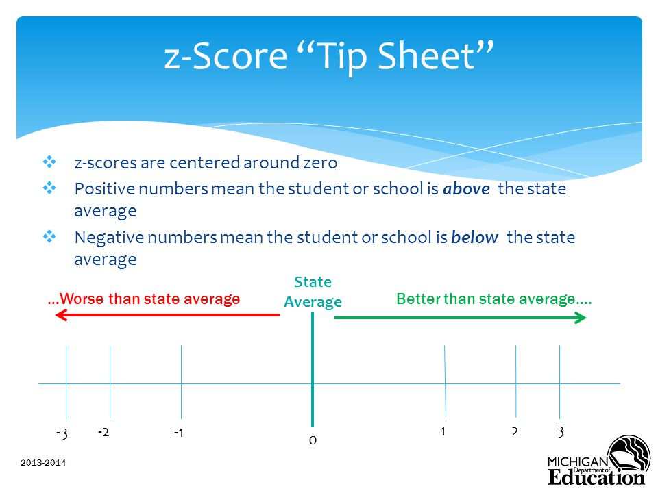 z-Score Tip Sheet z-scores are centered around zero