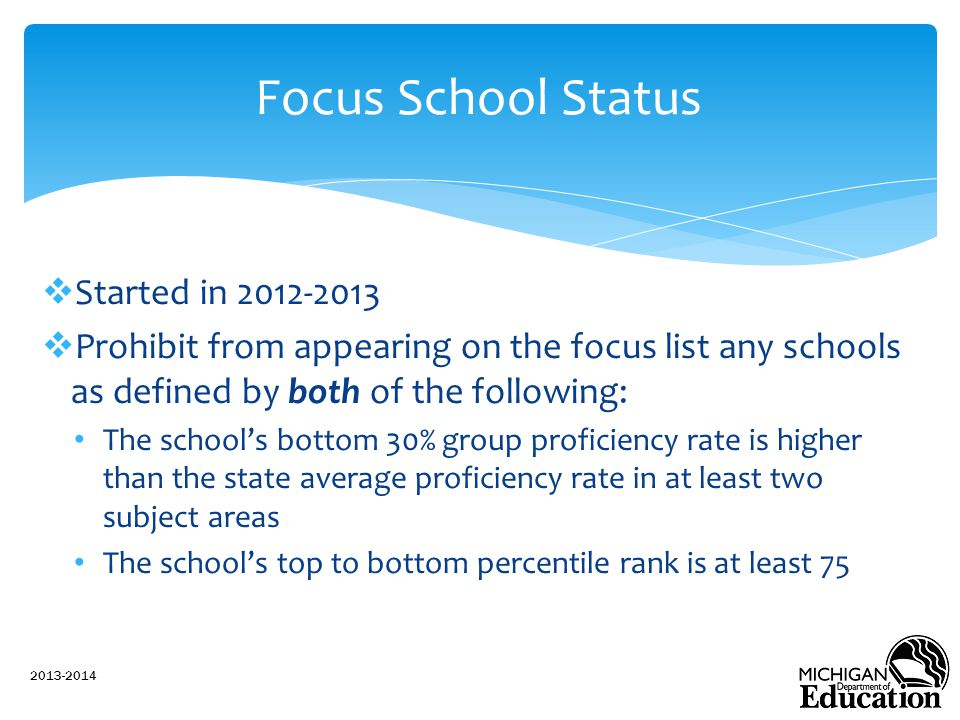 Focus School Status Started in 2012-2013