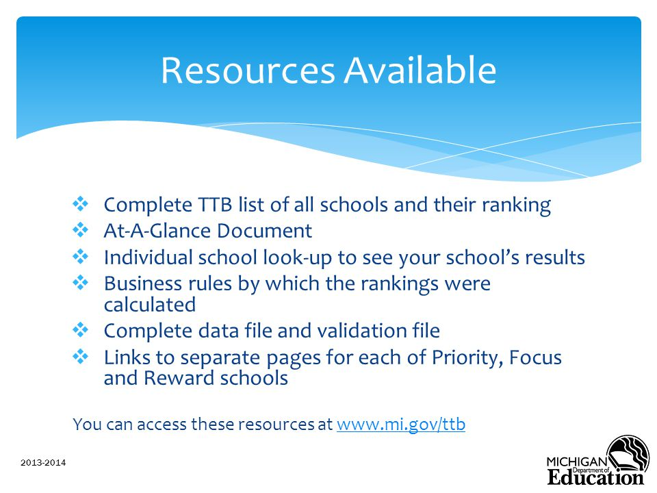 Resources Available Complete TTB list of all schools and their ranking
