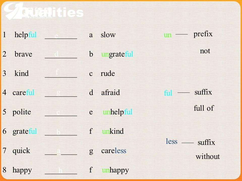 Qualities 1 helpful 2 brave 3 kind 4 careful 5 polite 6 grateful