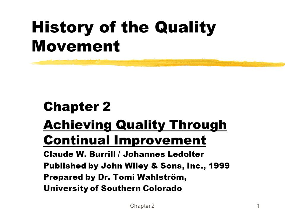History of the Quality Movement